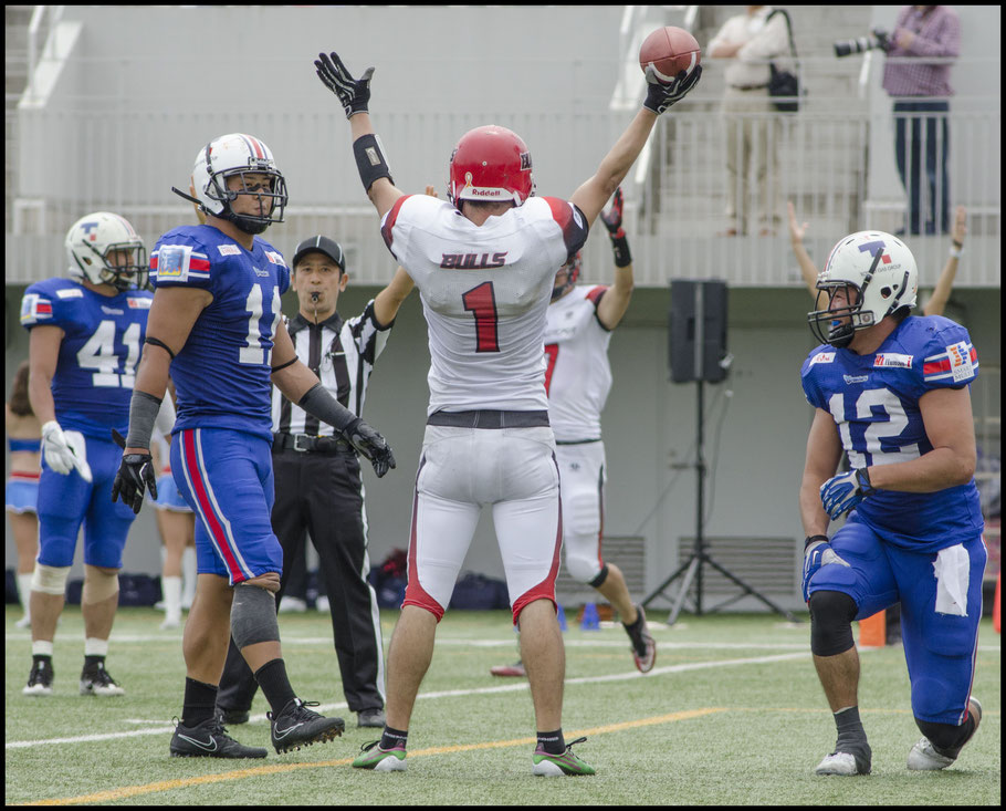 Bulls RB Keita Saruwatari celebrates his 4th quarter TD - Chris Pfaff, Inside Sport: Japan, May 7, 2017