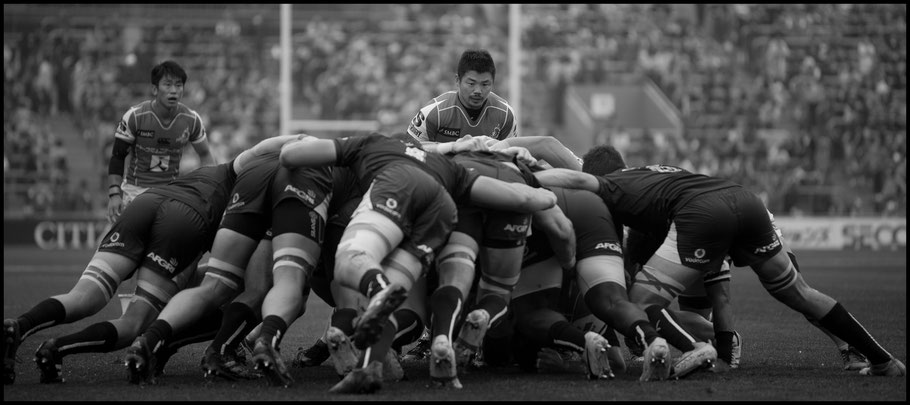 Sunwolves Fumiaki Tanaka keeps an eye on the scrum — John Gunning, Inside Sport: Japan, April 8, 2017