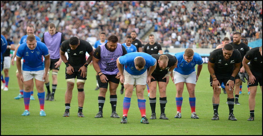 New Zealand and Namibia players bow after the game – John Gunning, Inside Sport: Japan, Oct 6, 2019