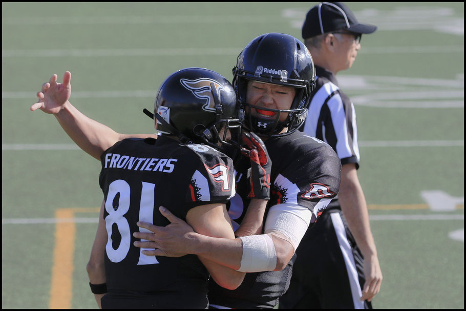 Takagi and Clark Nakamura celebrate an early TD in the semifinal - photo courtesy of @joh_52 (Instagram)