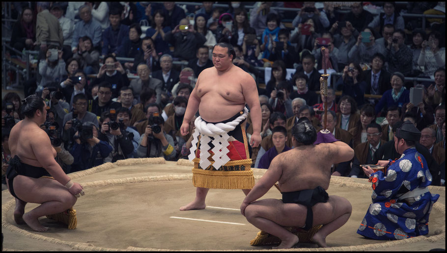 Kisenosato performs his first honbasho yokozuna ring entering ceremony — John Gunning, Inside Sport: Japan, March 12th, 2017