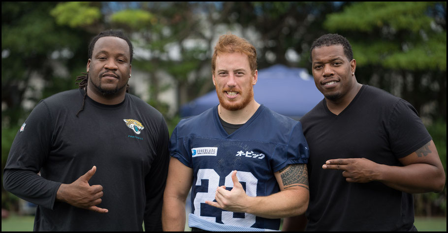 An uncle of BJ Beatty (pictured with Jacksonville Jaguars players Uche Nwaneri & Tutan Reyes) introduced Woolsey to Obic— John Gunning, Inside Sport: Japan, August 20, 2017