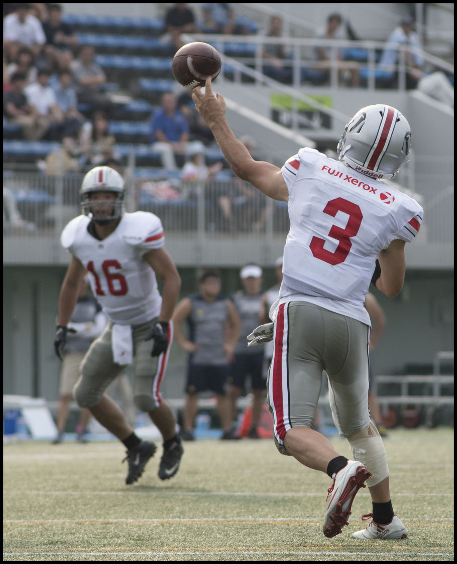 Minerva QB Kento Sasa was intercepted on his team's opening possession - Chris Pfaff, Inside Sport: Japan, Aug 26, 2017