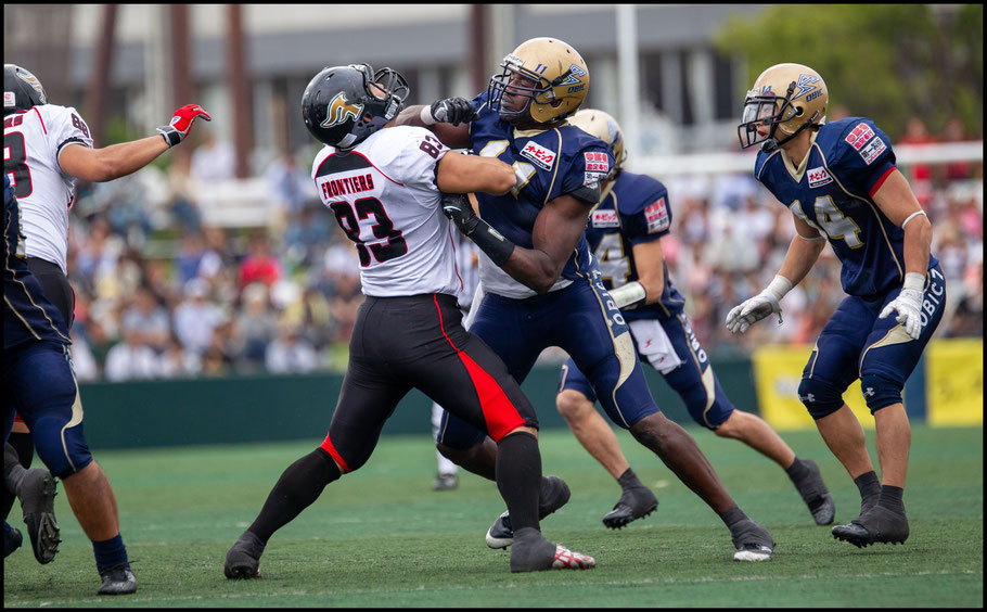 Jackson in action against Fujitsu Frontiers in the Pearl Bowl — Sachiyo Karamatsu, May 25, 2013