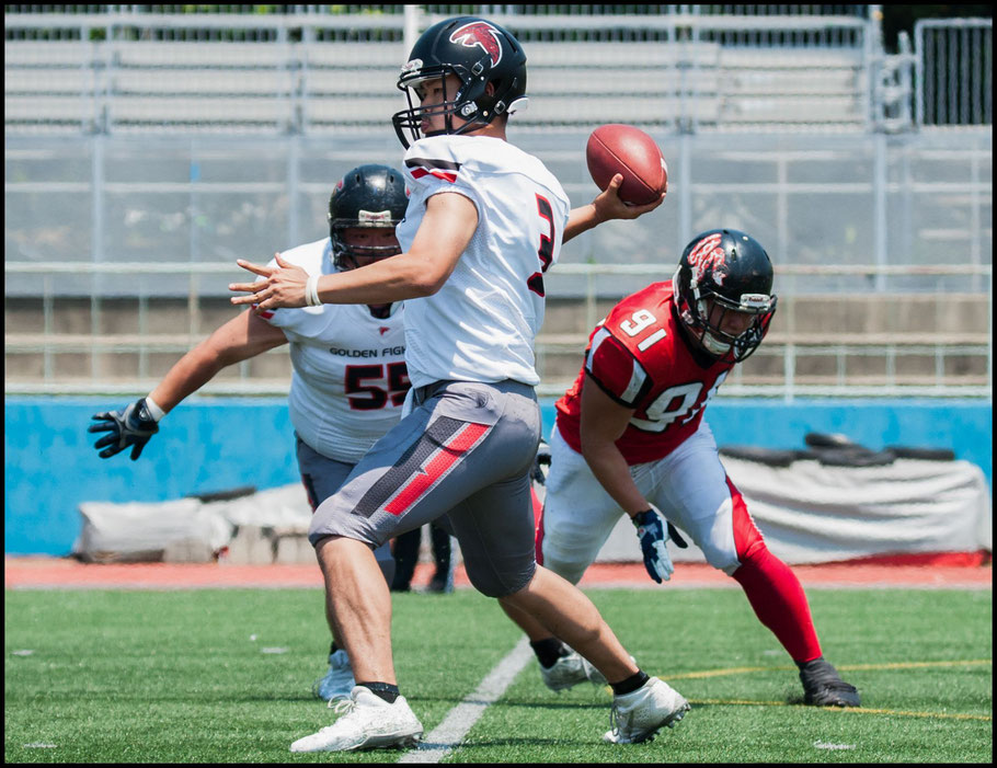 QB Ryutaro Yoshimura threw off 67 yards in his first start for Golden Fighters- Lionel Piguet, Inside Sport: Japan, May 20, 2017