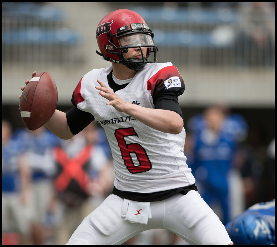 Bulls' QB Keita Fujiwara in action during the 2017 Pearl Bowl Opener  - John Gunning, Inside Sport: Japan, April 22, 2017