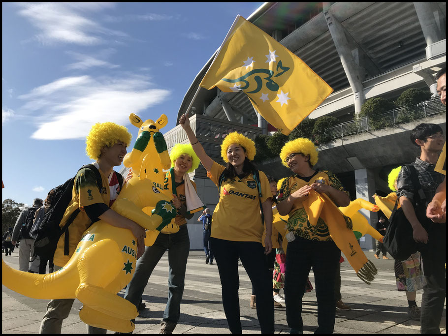 Australia supporters outside Nissan Stadium - John Gunning, Inside Sport: Japan, Oct 27, 2018
