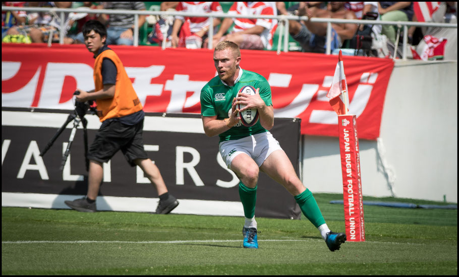 Keith Earls scores the first of Ireland's seven tries - John Gunning, Inside Sport: Japan, June 17, 2017