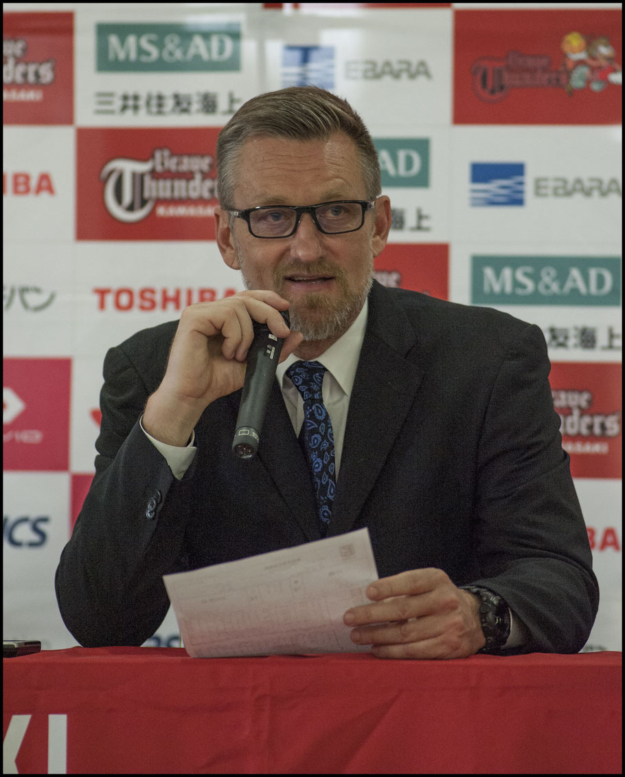 Sunrockers coach B.T. Toews speaks to the media after the game - Chris Pfaff, Inside Sport: Japan, May 6, 2017