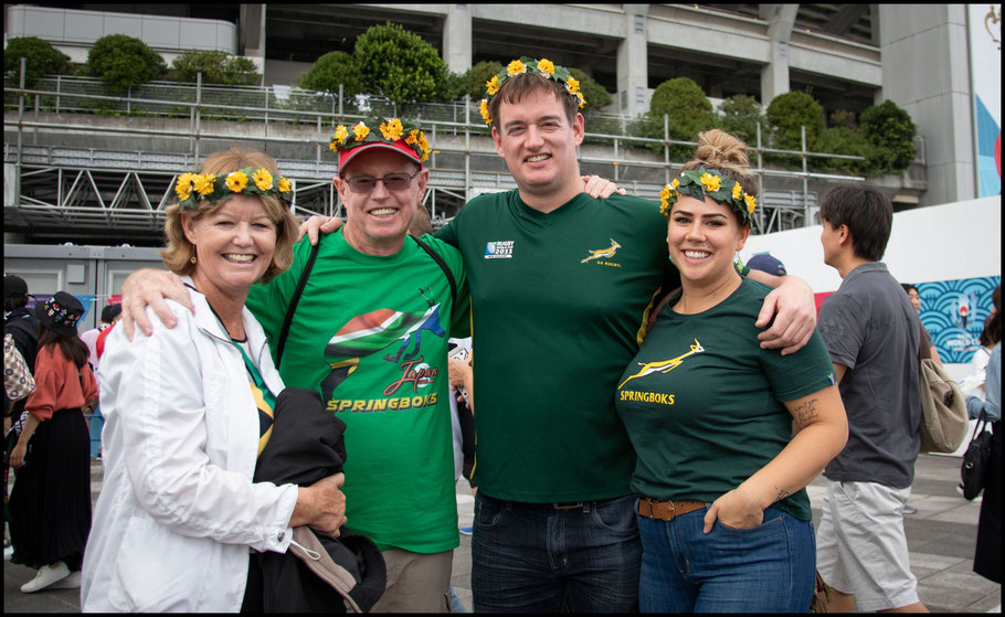 Springboks fans before the game against New Zealand – Sachiyo Karamatsu, Inside Sport: Japan, Sept 21, 2019
