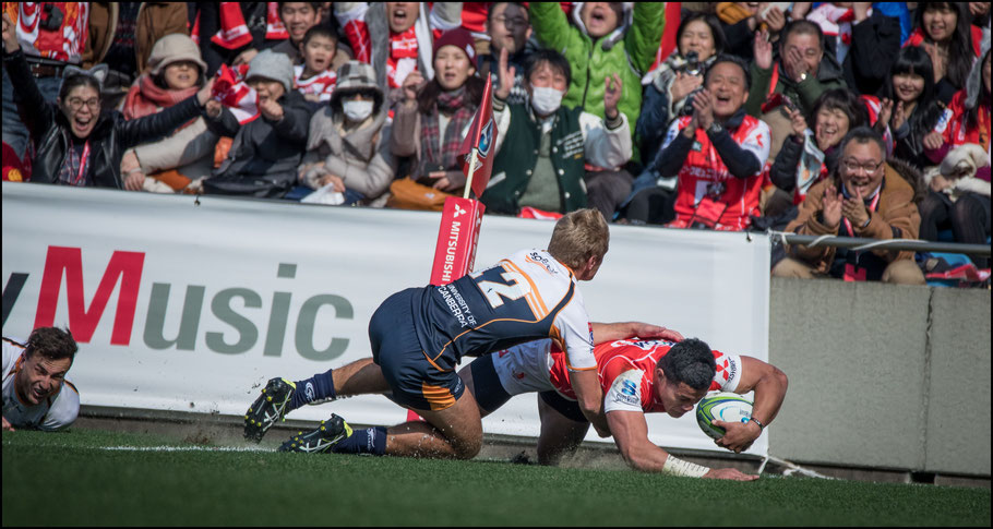 Hosea Saumaki gets his second try  – Sachiyo Karamatsu, Inside Sport: Japan, Feb 24th, 2018