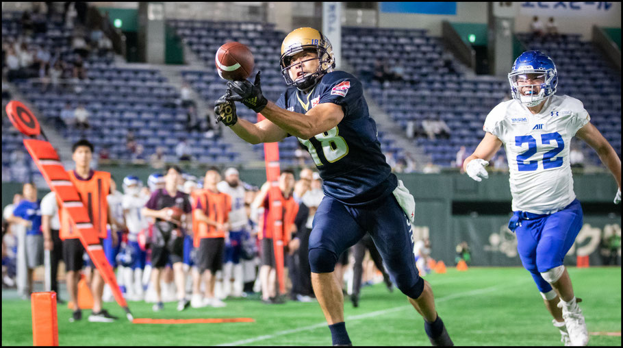 Kinoshita narrowly missed adding a fourth TD on this play – Sachiyo Karamatsu, Inside Sport: Japan, June 17, 2019