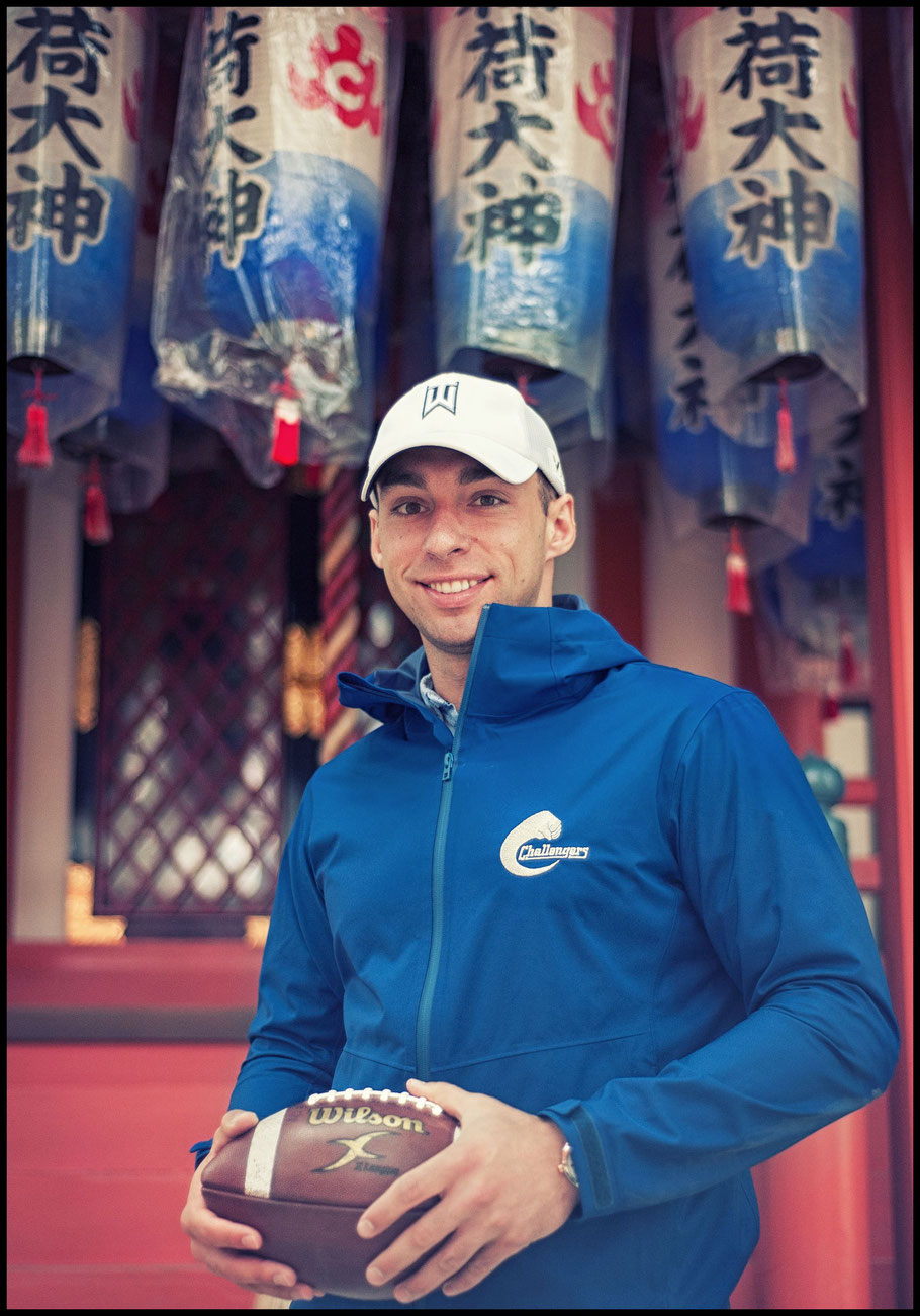 Asahi Soft Drinks Challengers QB Alex Niznak at a shrine in Kobe — Lionel Piguet, Inside Sport: Japan, April 25, 2017