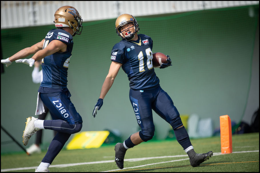 Kinoshita returns the opening KO of the Pearl Bowl for a TD – John Gunning, Inside Sport: Japan, April 20, 2019