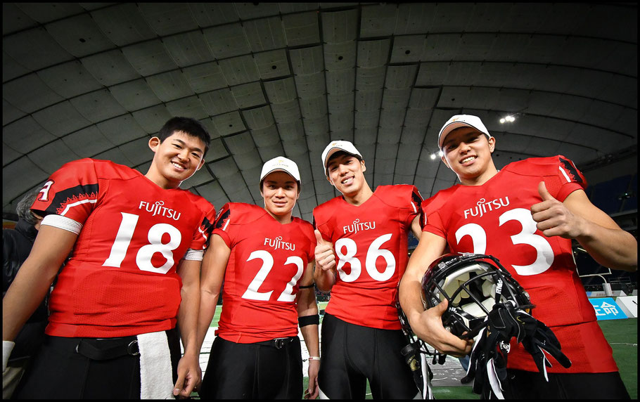 Takagi (left) with teammates at Tokyo Dome — Megumi Sugita, Inside Sport: Japan, Jan 3, 2018