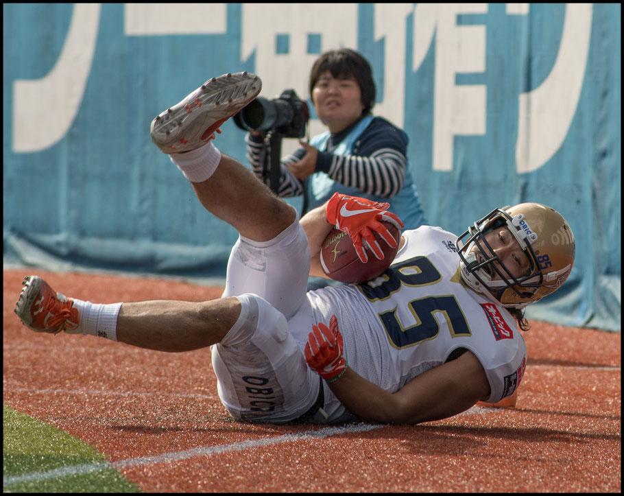 Ryoma Hagiwara hauled in this TD pass from fellow WR Noriaki Kinoshita - Chris Pfaff, Inside Sport: Japan, Nov 11, 2017