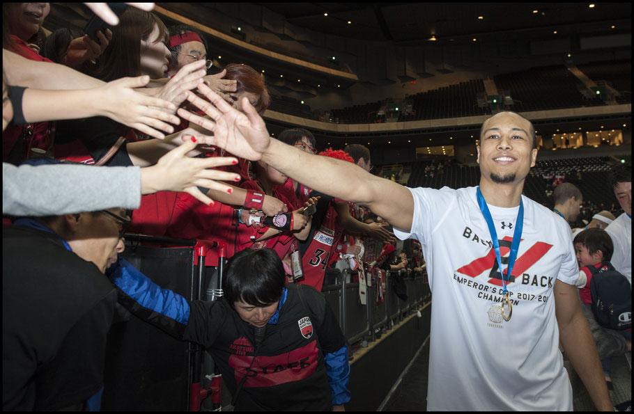 Aki Chambers celebrates with Chiba fans – Chris Pfaff, Inside Sport: Japan, Jan 8th, 2018