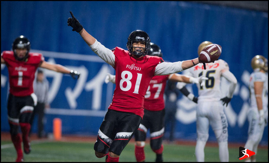 Clark Nakamura celebrates his game winning overtime TD  - John Gunning, Inside Sport: Japan, Oct 29, 2017