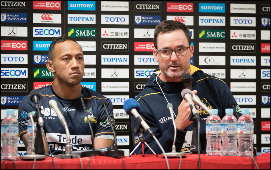 Brumbies Christian Lealiifano (left) and coach Dan McKellar – Sachiyo Karamatsu, Inside Sport: Japan, Feb 24th, 2018