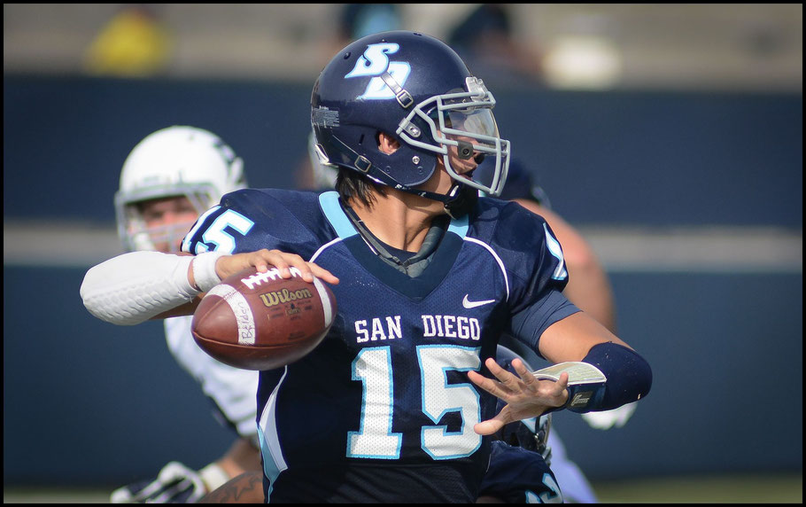 Lawrence broke Mason Mills USD career passing yards mark. Mills holds the XLeague single season record - Photo courtesy of USD Athletics