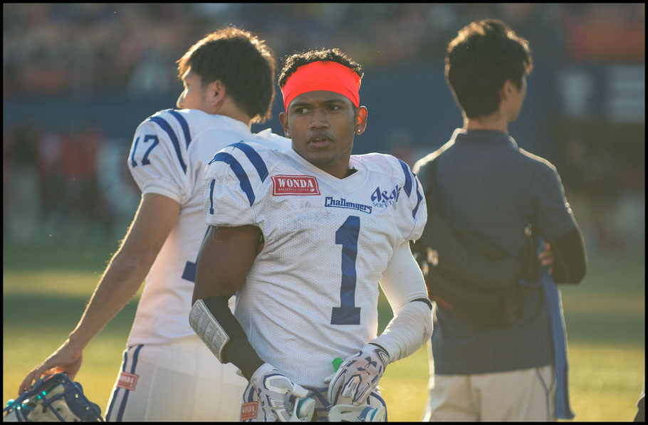 Challengers WR Donnie King during his team's playoff loss to Fujitsu Frontiers — John Gunning, Inside Sport: Japan, Nov 12, 2016