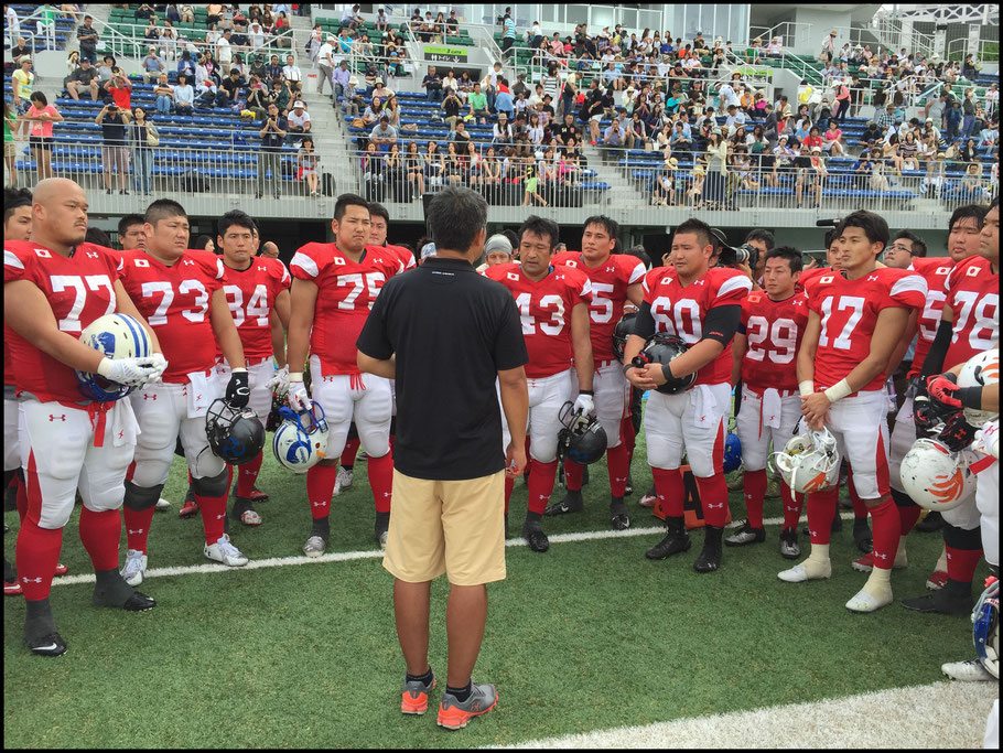 Japan Head Coach Kiyoyuki Mori speaks to his players after the win over Team Hope - John Gunning, Inside Sport: Japan, June. 14, 2015