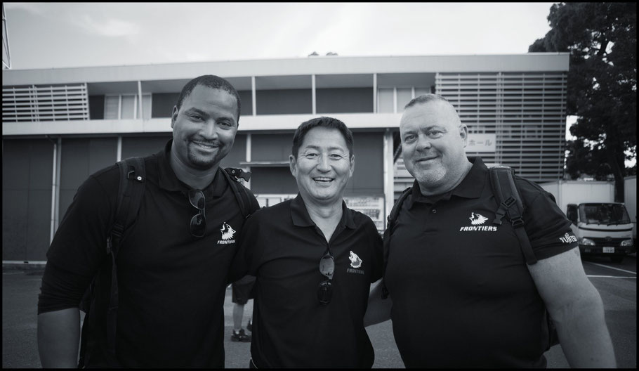 Pierre Ingram (left) with other Fujitsu coaches – John Gunning, Inside Sport: Japan, May 20th, 2018