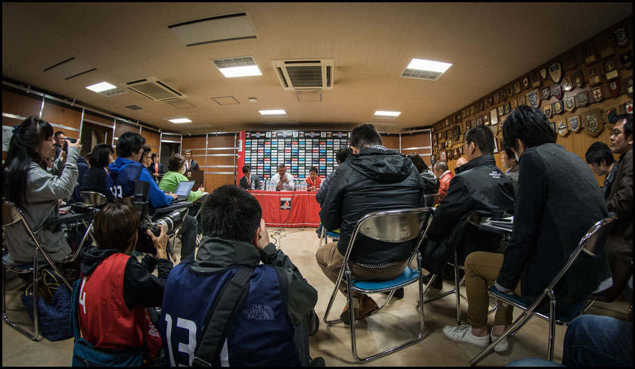 Jamie Joesph speaks to the press after a 2018 home game against Waratahs  - Sachiyo Karamatsu, Inside Sport: Japan, April 7, 2018