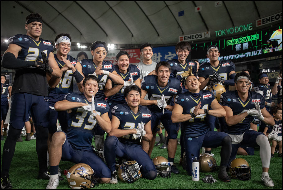 Obic players celebrate their third straight Pearl Bowl title – Sachiyo Karamatsu, Inside Sport: Japan, June 17, 2019