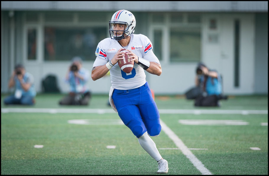 Woolsey in action for Creators during the 2018 Pearl Bowl — John Gunning, Inside Sport: Japan, April 22, 2018