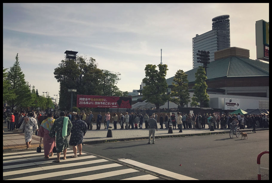 Crowds wrap around the Kokugikan all the way o the Edo Tokyo Museum for the sokken open practice- John Gunning, Inside Sport: Japan, May 3, 2017