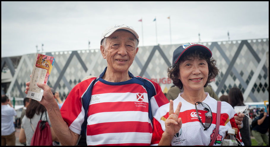 Professor Takizawa (St Andrews University) and his wife Miyoko attending their third World Cup  – Lionel Piguet, Inside Sport: Japan, Sept 22, 2019
