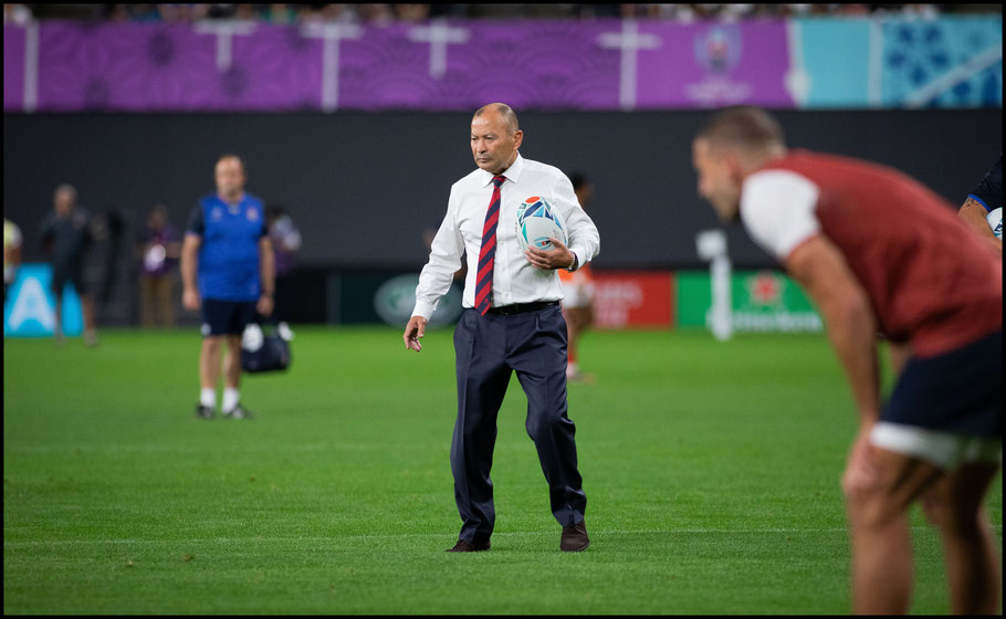 England coach Eddie Jones before the game – Chris Pfaff, Inside Sport: Japan, Sept 22, 2019
