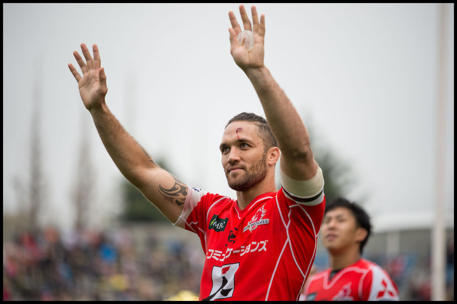 Derek Carpenter after the Sunwolves first win of the season — John Gunning, Inside Sport: Japan, April 8, 2017