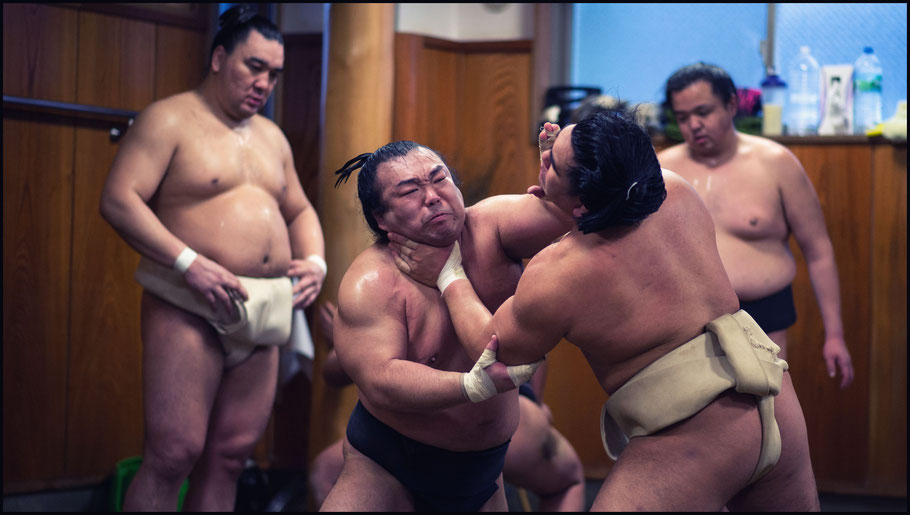 Terutsuyoshi (left) trains with Shunba as Yokozuna Harumafuji looks on— John Gunning, Inside Sport: Japan, Feb 7th, 2017