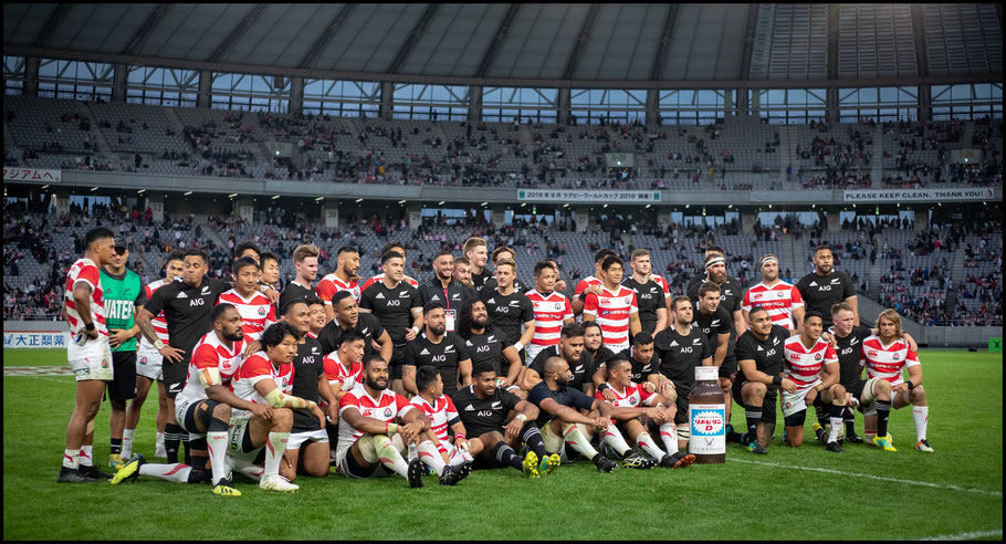 Japan and New Zealand after the game - Sachiyo Karamatsu, Inside Sport: Japan, Nov 3, 2018