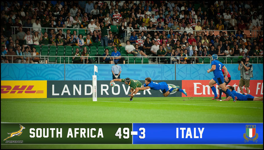 South Africa had little trouble dispatching a 14 man Italy – Lionel Piguet, Inside Sport: Japan, Oct 4, 2019