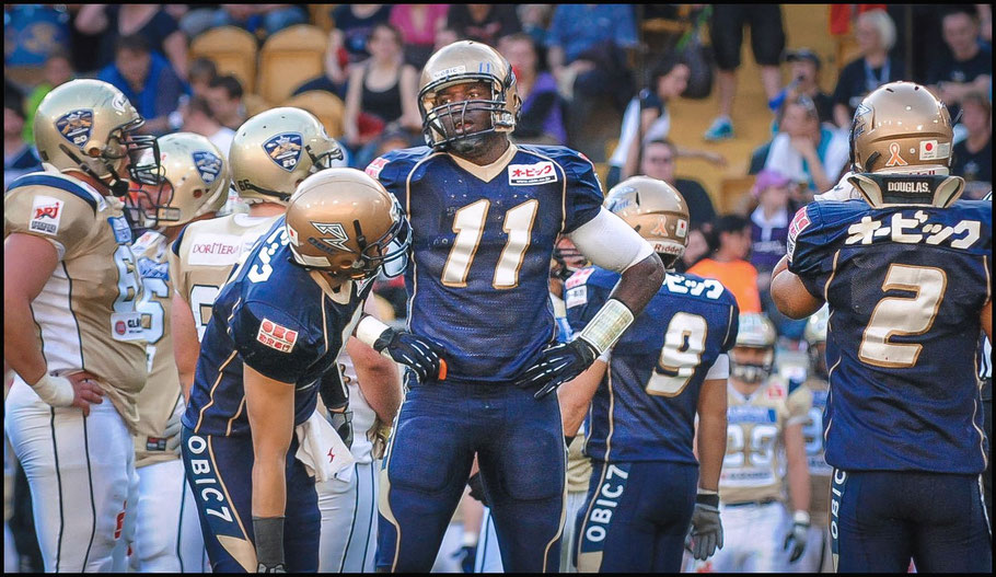 Jackson and Obic downed Dresden Monarchs 29-17 in Germany - Photo courtesy of Dirk Pohl, May 19, 2012