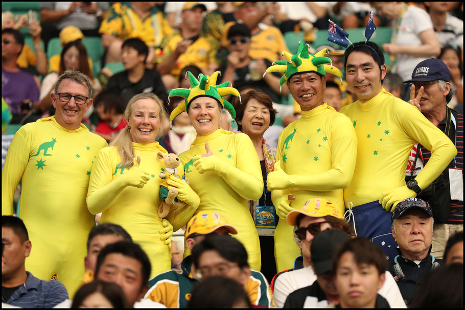 Australian fans during the match against Uruguay – David Ramos, World Rugby / Getty, Oct 5, 2019