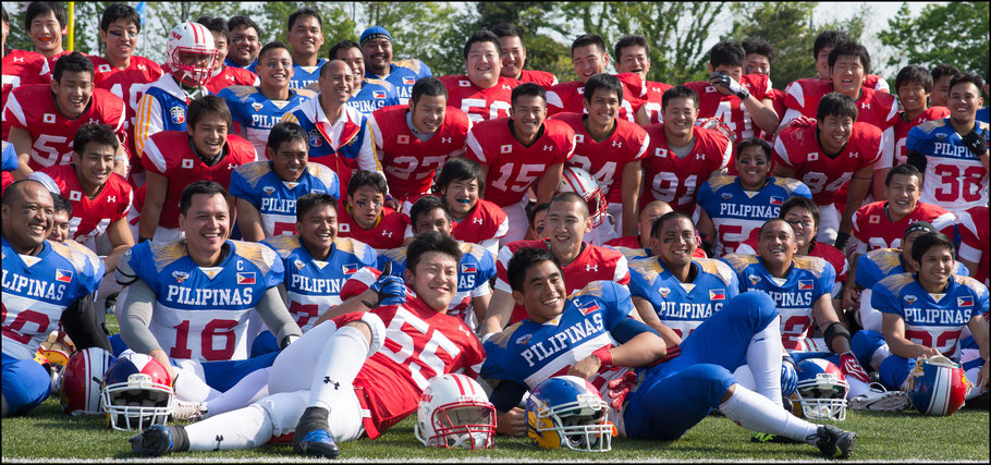 Players from Japan and The Philippines after the game - John Gunning, Inside Sport: Japan, April 26, 2014