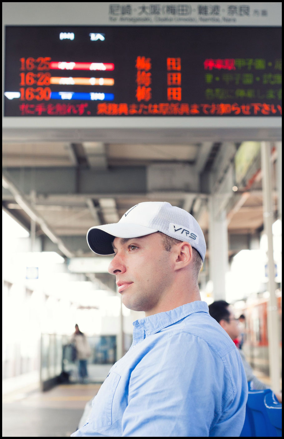 Asahi Soft Drinks Challengers QB Alex Niznak at a train station in Kobe — Lionel Piguet, Inside Sport: Japan, April 25, 2017