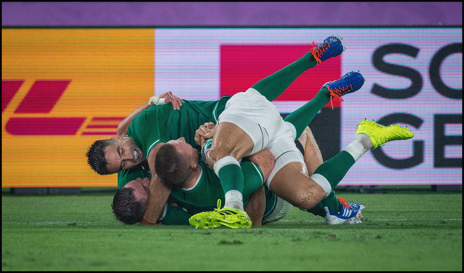 Ireland players celebrate the team's fourth try – John Gunning, Inside Sport: Japan, Sept 22, 2019