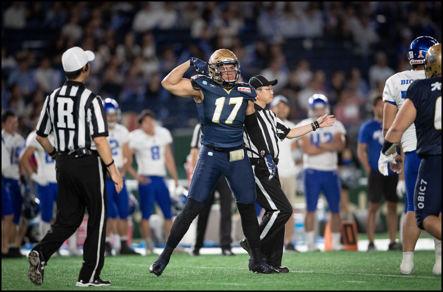 New Seagulls signing Jason Fanaika celebrates during the Pearl Bowl final – Sachiyo Karamatsu, Inside Sport: Japan, June 17, 2019
