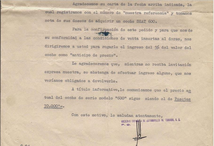 Carta pedido Seat 600