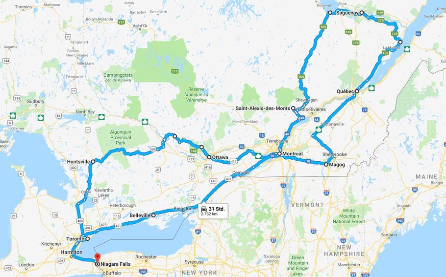 Unsere Reiseroute durch den Osten Kanadas. Start und Ziel ist die Metropole Toronto. Am Ende waren es 3920 km (fast soviel wie durch Namibia 2006).