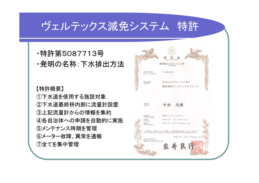 ヴェルテックス減免システム特許の説明。ヴェルテックスジャパンが下水道減免システムが、公的機関にもきちんと認められていることの証明