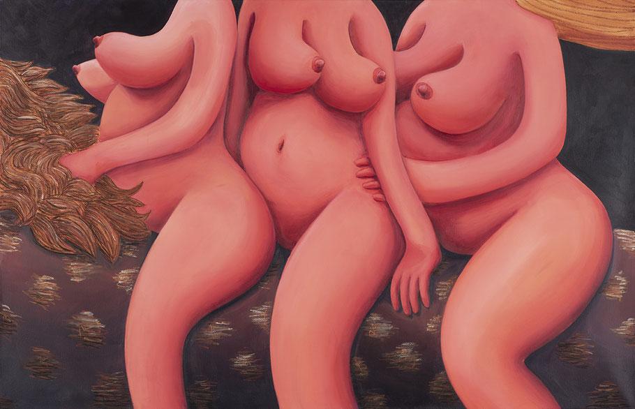 Ausritt ( Die drei Grazien), 2020, Acrylfarbe und Pastellkreide auf Leinwand, 135x 210 cm