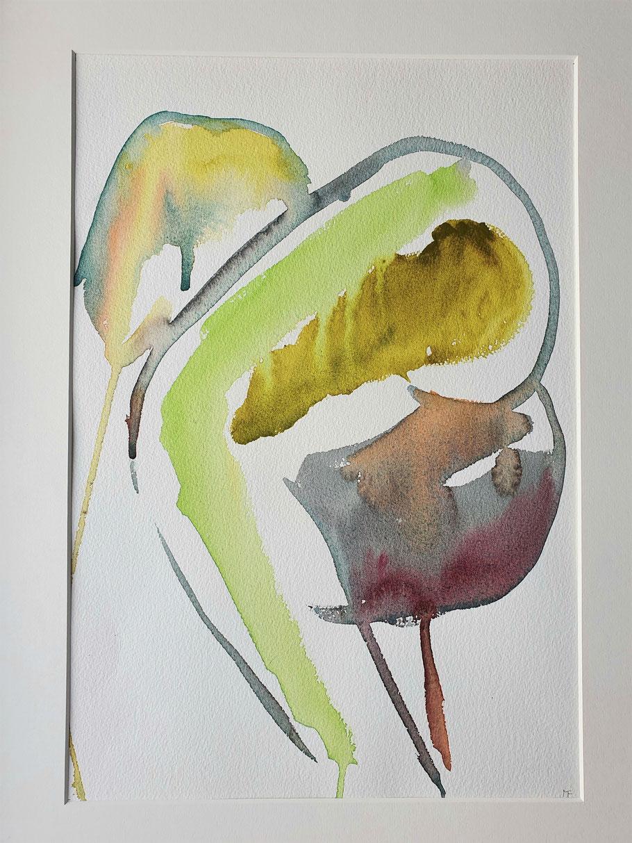 """Poema 1   Aquarell von Maya Franzen      Vollholzrahmen weiß  40 x 50 cm     Nr. 5 der Ausstellung   """"Befreiungsakt"""""""