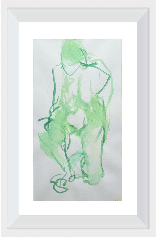 """Knieende grün  Aquarell               von Maya Franzen            Vollholzrahmen weiß  30 x 40 cm            Nr. 14 Ausstellung """"Befreiungsakt"""""""