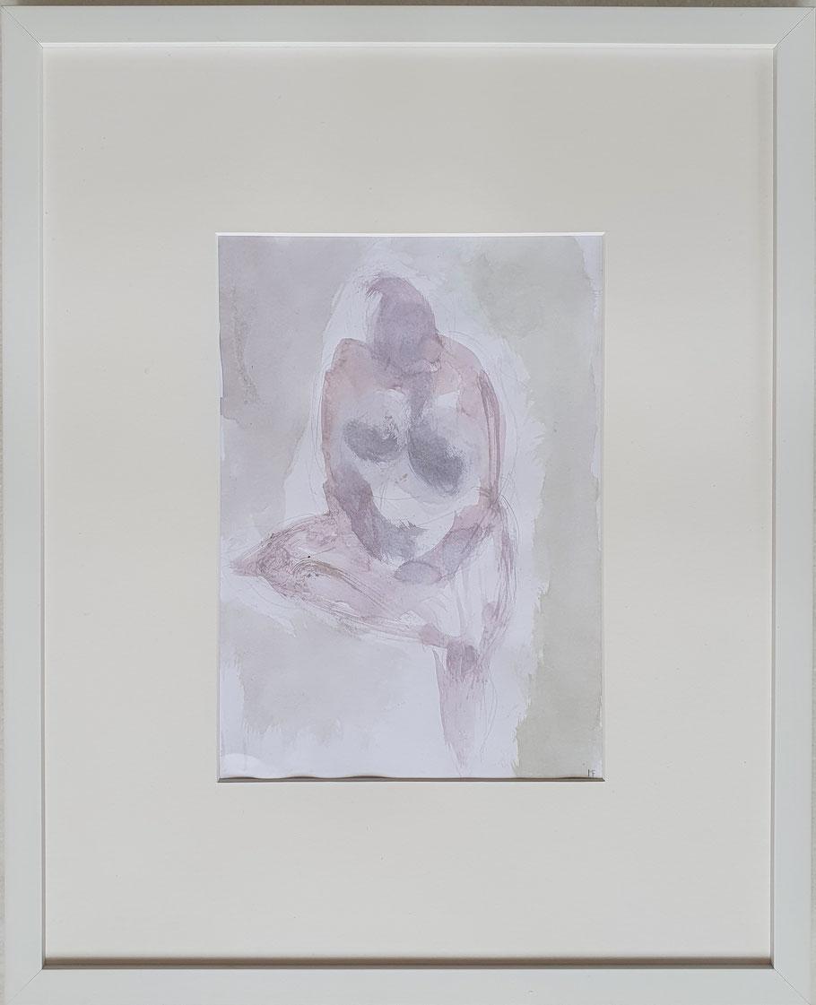 """Sitzende,  Aquarell und Bleistift     von Maya Franzen      40 x 50 cm          Nr. 22 Ausstellung """"Befreiungsakt"""""""